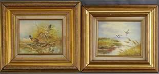 Two Wildlife Oil Paintings- Pheasant & Ducks