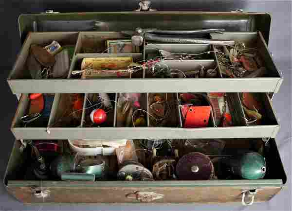 Tackle Box Filled with Miscellaneous Fishing Gear