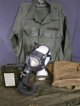 US Army Military Jacket, Gas Mask & Duffle Bag