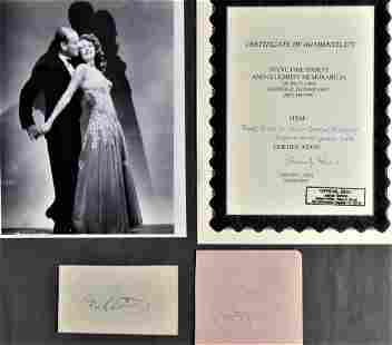 Fred Astaire & Ginger Rogers Signed Autograph Cuts