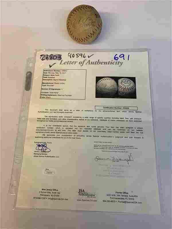 Autographed Babe Ruth baseball graded JSA