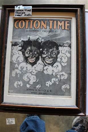 Cotton Time framed sheet music