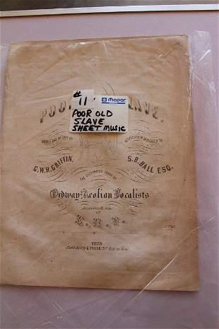 Poor Old Slave sheet music 1851