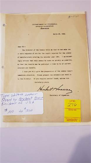 Typewritten letter signed by Pres. Hoover