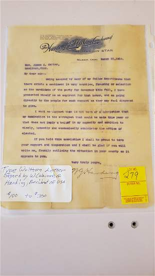 Typewritten letter signed by President Harding