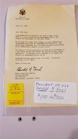 Typewritten letter signed by Pres. Ford