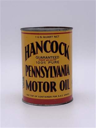 Hancock Pennsylvania Motor Oil 1 Quart Can TAC 9.0