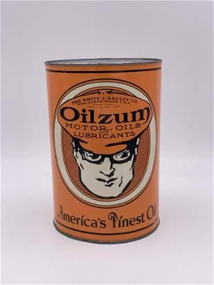 Oilzum Motor Oil w/ Oswalt Logo 5 Quart Can TAC 8.0