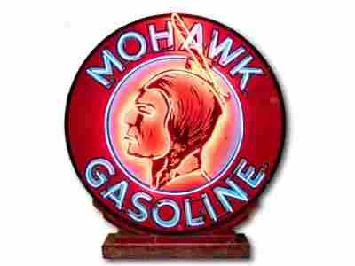 """48"""" Mohawk Gasoline Porcelain Neon Sign & Base TAC 9.75"""