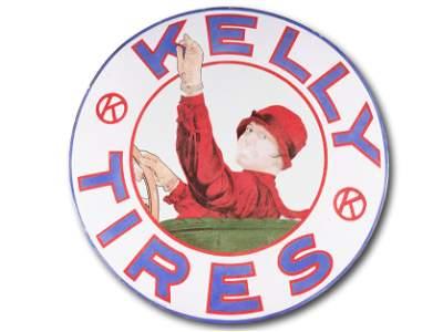 "42"" Kelly Tires Alotta Miles SS Porcelain Sign TAC 8.25"