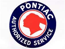 "42"" Pontiac Authorized Service SS Porcelain Sign TAC 9"