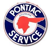 "Rare 60"" Pontiac Authorized Service DS Porcelain Sign 9"