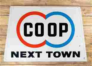 Co-op COOP Next Town SST Embossed Metal Sign TAC 8.25
