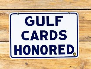 Gulf Cards Honored Double Sided Porcelain Sign TAC 9.75