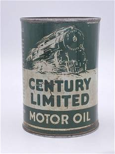 Century Limited Motor Oil 1 Quart Metal Can 7.75 & 6