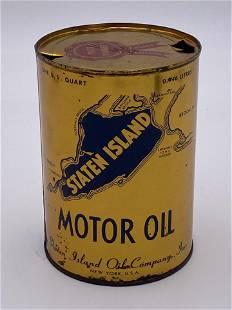 Staten Island Motor Oil Metal Quart Can TAC 8.5