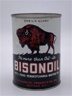 Bisonoil Motor Oil Metal 1 Quart Can TAC 9 & 8.5