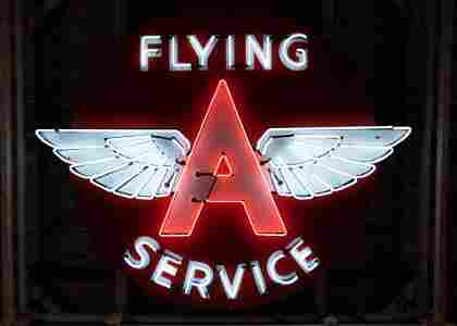 "Rare 72"" Flying A Original SS Porcelain Neon Sign"