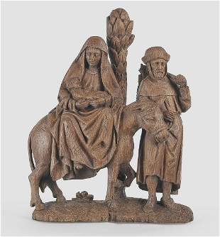 Flight into Egypt, Oakwood, Flemish, ca. 1500