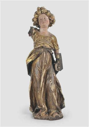Standing Angel, Carved Wood, 17th century