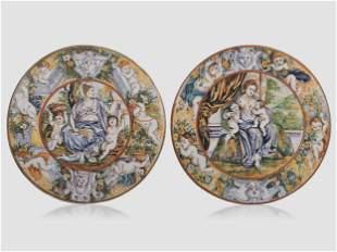Pair Show Plates, Faience, 20th century
