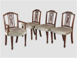 Chippendale Armchair & Three Chairs, 18th century