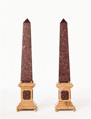 Pair of Grand Tour Porphyry and Sienna Marble Obelisks,