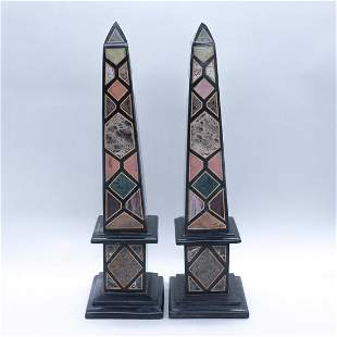 Pair of Grand Tour Style Specimen Marble Obelisks, 20th