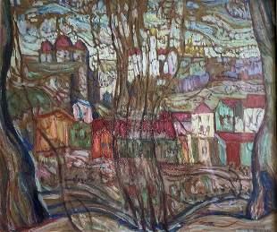 Abraham Manievich (1881-1942) Town Through the Trees