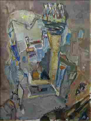 Mordechai Levanon (1901-1968) Street Scene with Minaret