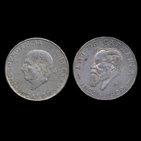 1955-59 Mexico 5 Peso 2pcs AU