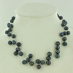 Black Peacock Saltwater Pearl 4 Strand Necklace