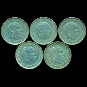 1958-63 Spain 5p XF/VF Scarce 5pcs