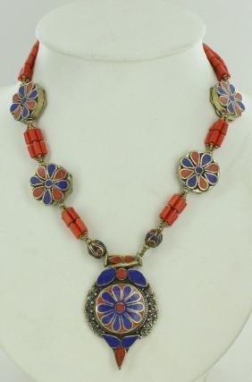 Heavy Tibet Coral Lapis & Turquoise Necklace