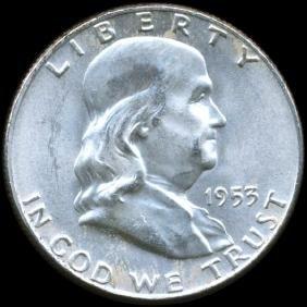 1953D Franklin 50c GEM Unc FBL D/D ERROR