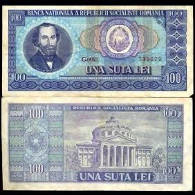 1966 Romania 100 Lei Note Better Grade
