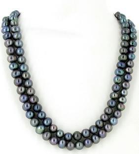 Black Saltwater Baroque Pearl 2 Strand Necklace