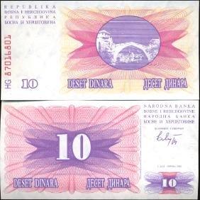 1992 Bosnia 10 Dinara GEM Crisp Uncirculated Note