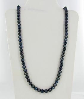 Black Iridescent Top Saltwater Pearl Necklace