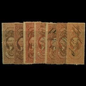 1861 US 25c Revenue Stamp Set 7pcs