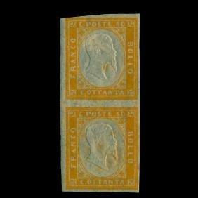 1855 Italy Sardinia 80c Mint Pair