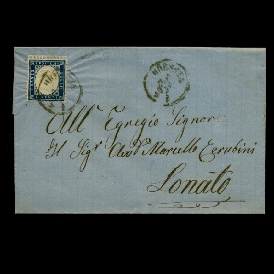 1862 Italy 20c On Cover RARE