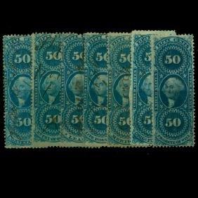 1861 US 50c Revenue Stamp Set 7pcs