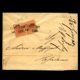 1850 Austria Lombardy Venetia 15c Pair On Cover