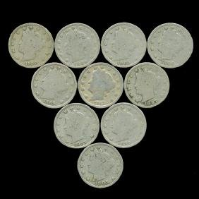 10 US Liberty V Nickel Coin Lot