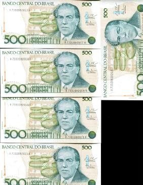 1986 Brazil 500C Crisp Unc Note 10pcs Scarce Sequential