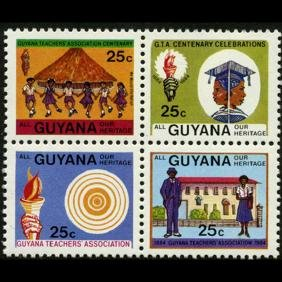 1984 Guyana 25c MINT NH 4 Variety Block