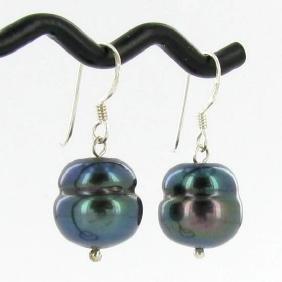 Saltwater Baroque Black Pearl Earrings