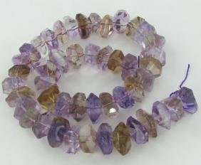 590twc Purple Green Faceted Amethyst Crystal Strand