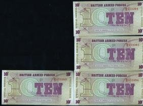 1972 UK 10p Military Note Crisp Unc 10pcs Scarce